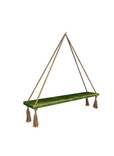 222 Concept Masif Ağaç Eskitme Yeşil Renk 50x15 cm Halatlı Raf Yeşil